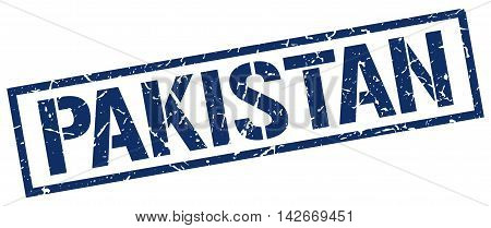 Pakistan stamp. blue grunge square isolated sign