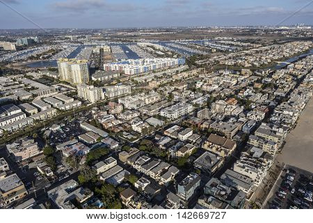 Los Angeles, California, USA - August 6, 2016:  Afternoon aerial view of Venice and Marina Del Rey in the city of Los Angeles
