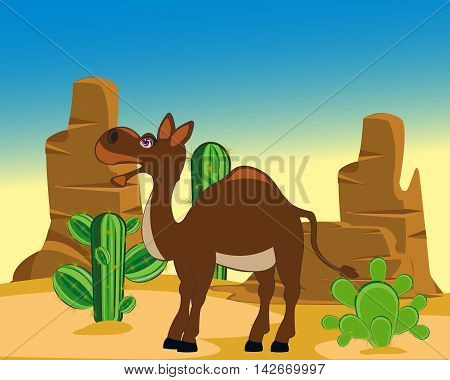 The Cartoon animal camel in desert with cactus.Vector illustration