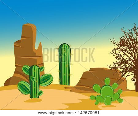 The Prickly cactuses in hot desert amongst sand.Vector illustration