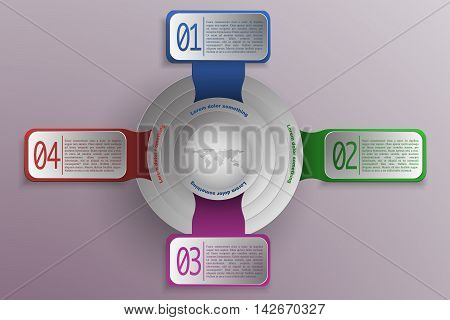 4 steps timeline and business infographics in modern colors and style with world map or globe in center. 3D rounded and rectangle objects as timeline infographic with shadows representing process diagram options or chart.