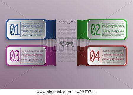 4 option infographics with 3D rectangle objects in modern style and colors. World map with text and four business banners on gradient background - can be used as infographic diagram process or steps.