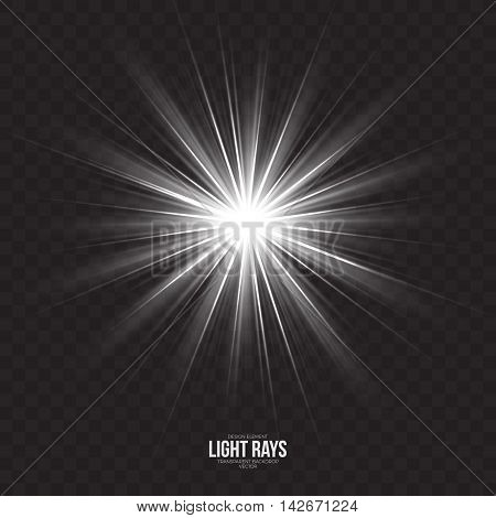 Abstract gleaming light rays vector background. White glint glowing effect on transparent backdrop. Design element. Celebration, holidays and party illustration