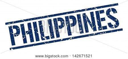 Philippines stamp. blue grunge square isolated sign
