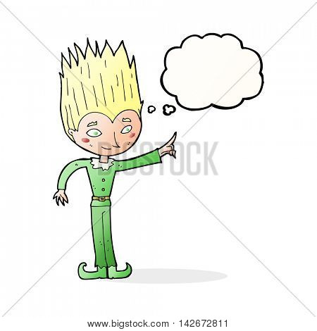 cartoon magic christmas elf with thought bubble