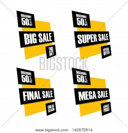 Set of sale banners. Big, Super, Final and Mega sale. This weekend, special offer, lowest price, end of season. Discount up to 50% off. Vector illustration.
