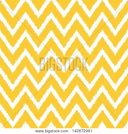 Seamless geometric pattern, based on ikat fabric style. Vector illustration. Yellow chevron pattern. Yellow zig-zag pattern. Chevron background.