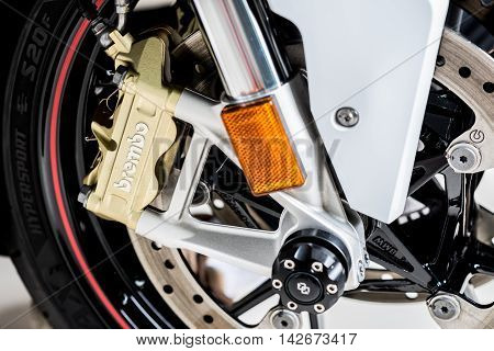 BANGKOK, THAILAND - AUGUST 11, 2016 : Closeup of Brembo brake installed in BMW S1000RR. Brembo is high-performance brake system from Italian manufacturer for cars and motorcycles.
