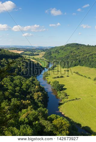 Beautiful English countryside in the Wye Valley and River Wye between the counties of Herefordshire and Gloucestershire England UK
