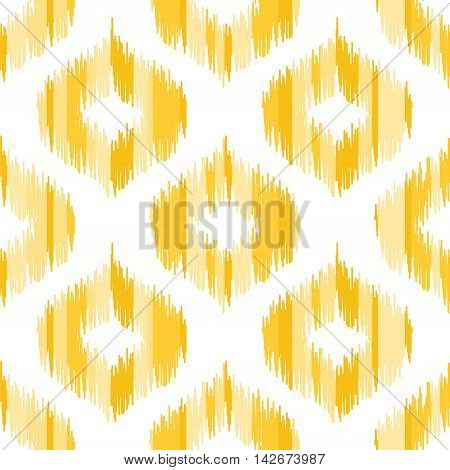 Seamless geometric pattern, based on ikat fabric style. Vector illustration. Yellow ogee shapes on white background.