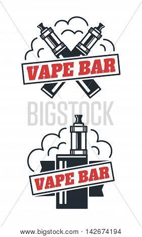 Vape bar shop logo design. Isolated on white background