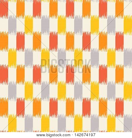 Seamless geometric pattern, based on ikat fabric style. Vector illustration. Yellow, gray and orange checkered rug pattern.