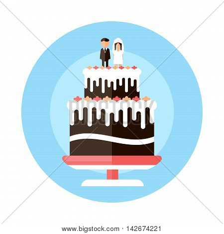wedding cake with figurines of the newlyweds flat design icon