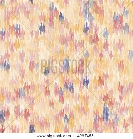 Seamless geometric pattern, based on ikat fabric style. Vector illustration. Abstract yellow and orange background.