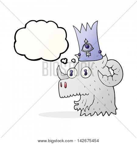 freehand drawn thought bubble cartoon ram head with magical crown