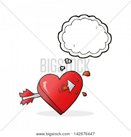 freehand drawn thought bubble cartoon arrow through heart freehand drawn thought bubble cartoon