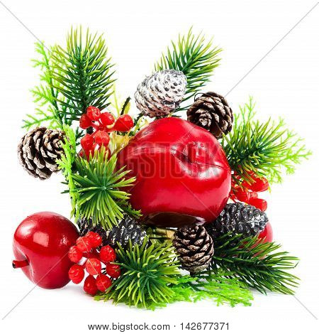 Christmas decoration fir branch pine cones cranberry apple isolated on white background.