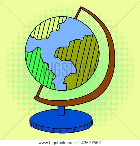 Globe pop art vector illustration. Beautiful style comic. Hand-drawn. World map on a stand