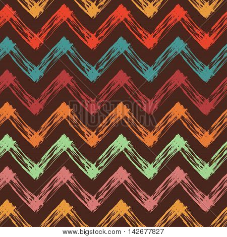 vector seamless pattern with colorful zigzag lines, abstract vector background