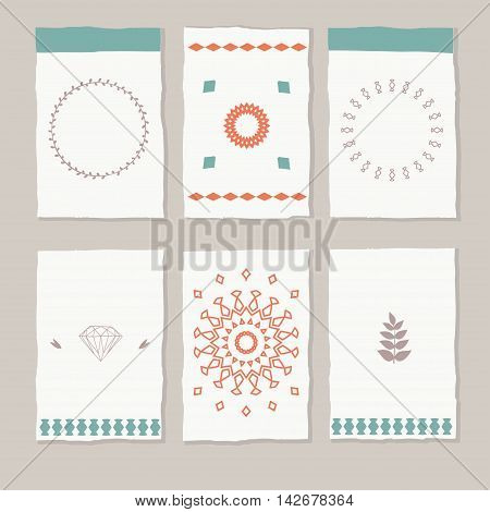 set of vector ethic boho cards and tags