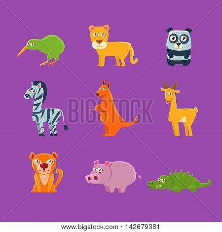 Exotic Animals Fauna Collection Of Silly Childish Drawings Isolated On Purple Background. Funny Animal Colorful Vector Stickers Set.