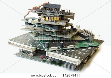 Old electronic and computer parts, prepared for recycle
