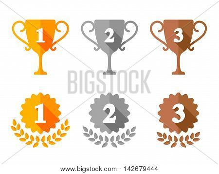 Golden, silver and bronze trophy cups and award medals for first, second and third place. Flat icons collection
