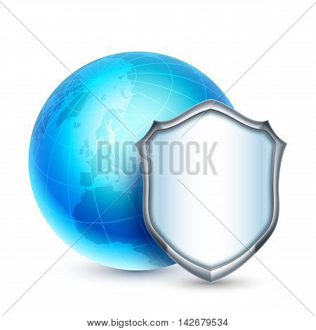 Blue earth protected by shield. Global security concept