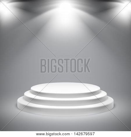 Round white podium with empty space illuminated by lights