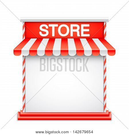 Store front with red awning. Advertisment or product presentation template