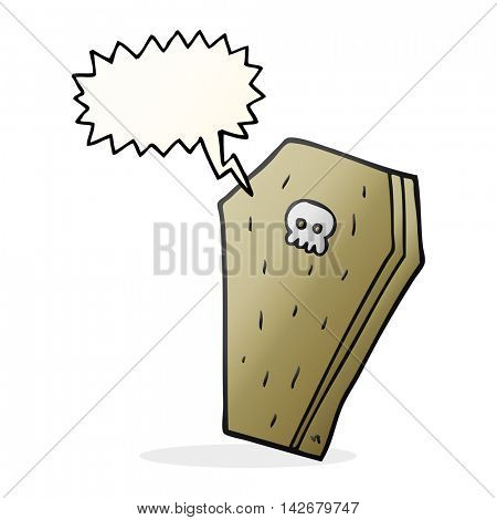 freehand drawn speech bubble cartoon halloween coffin
