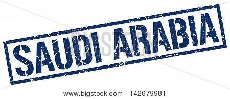 Saudi Arabia stamp. blue grunge square isolated sign