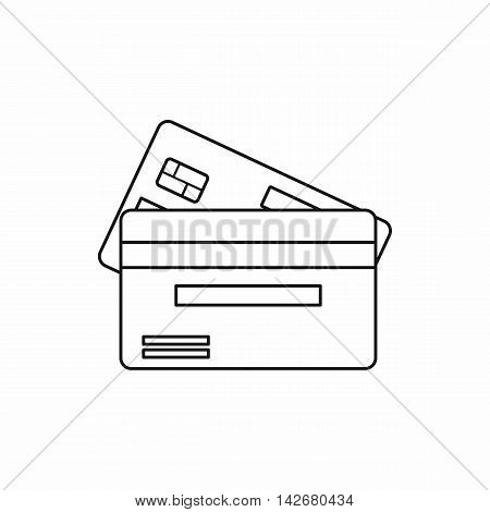 Credit card icon in outline style isolated on white background. Money symbol vector illustration