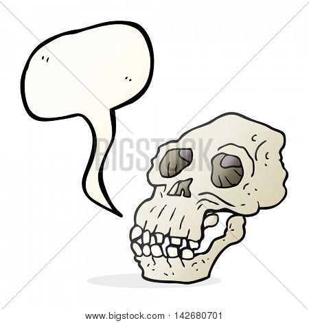 freehand drawn speech bubble cartoon ancient skull