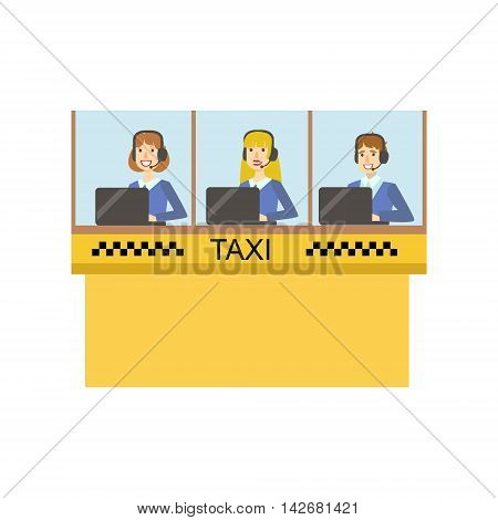 Yellow Glass Cabin For Taxi Service Call Center With Three Operators Working Simple Childish Flat Colorful Illustration On White Background