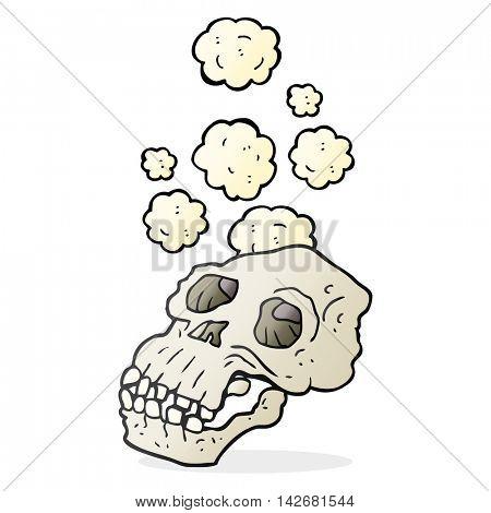 freehand drawn cartoon ancient skull