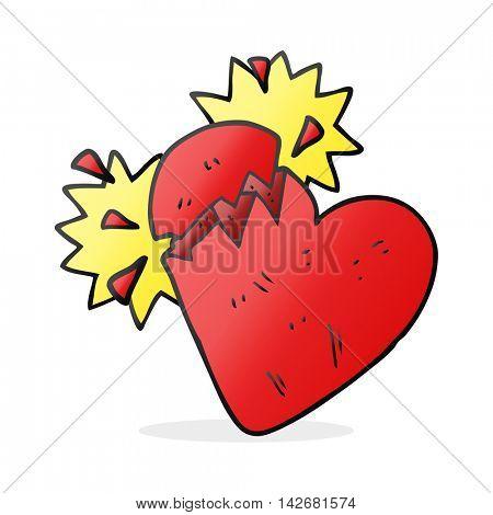 freehand drawn cartoon broken heart