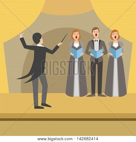 Three Person Choir And Operator Wearing Tails Simplified Graphic Drawing In Bright Colors. Show On Stage Flat Vector Illustration