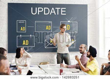 Latest News Update Data Information Communication Concept