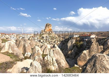 Town of Ortahisar in Cappadocia and cave dwellings.