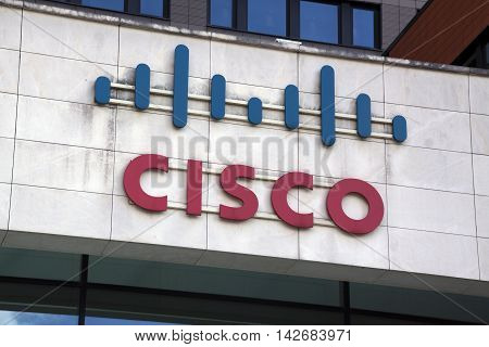 Amsterdam Netherlands-august 14 2016: letters Cisco on a wall