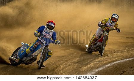 Speedway. Veterans competition. October 17 2015 Ukraine Voznesensk. Competition veterans Speedway. The final race.