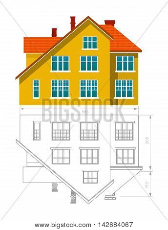 House icon and drawing. Vector illustration on white background
