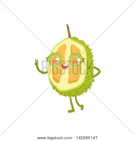Durian Girly Cartoon Character.Childish Design Sticker With Humanized Bright Color Fruit Character.