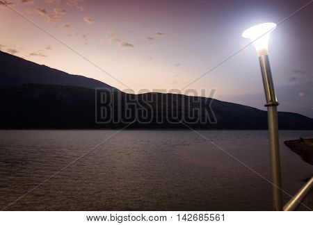 lake between kosovo and albania in front of led light