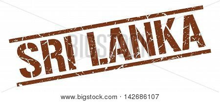 Sri Lanka stamp. brown grunge square isolated sign