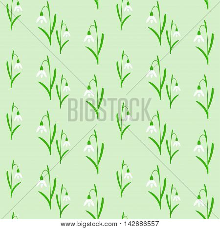 Seamless background with snowdrops the vector illustration.