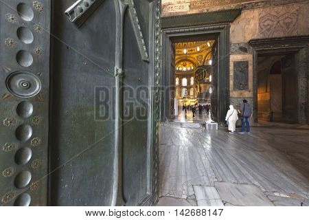 ISTANBUL, TURKEY - APRIL 12, 2016: Main gate of the church museum of Aya Sofia in Istanbul, Turkey.