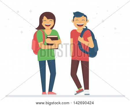 Young students or schoolmates with school bags and books are smiling. Back to school flat illustration of young people who study in university or high school isolated on white