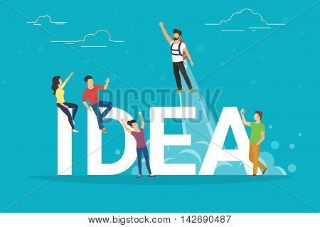 Idea concept illustration of business people working together as team and celebrating success. Flat people looking at the colleague who got an idea and rises into the sky as a rocket.